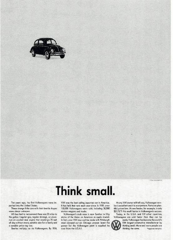 5 of the Best Marketing Campaigns and Outdoor Banners in History - Volkswagen Think Small