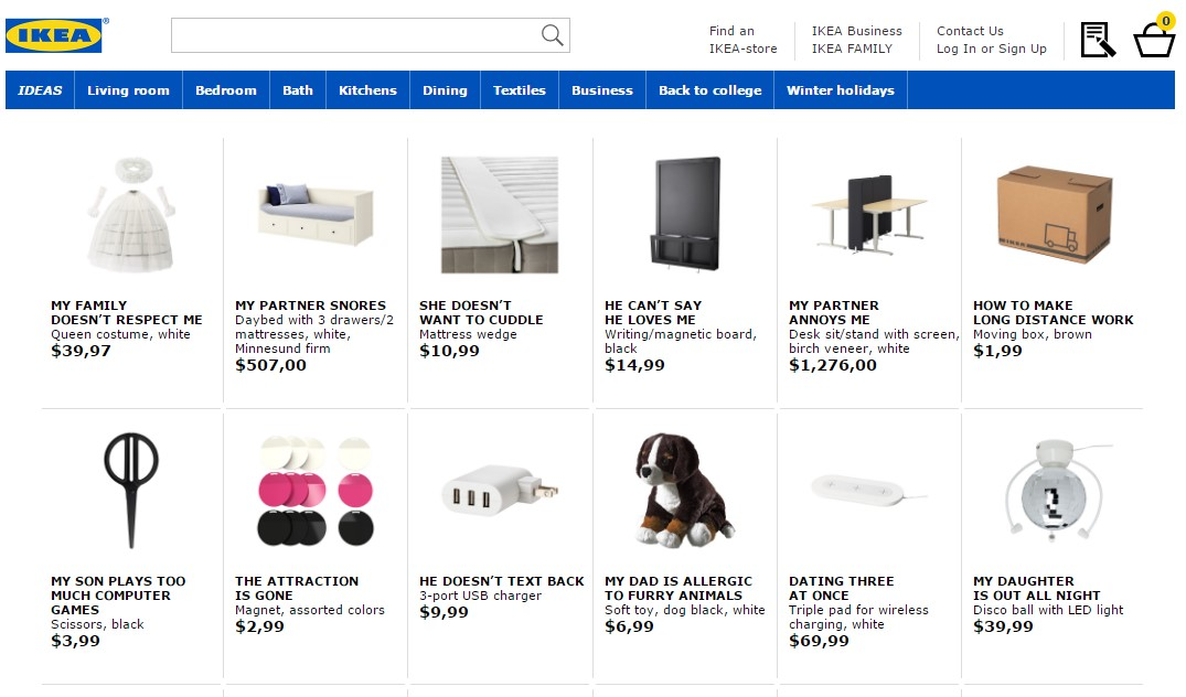 Ikea retitles products for their SEO retail therapy campaign