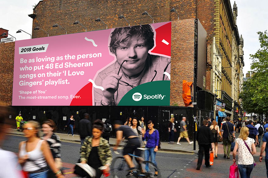 2018 Goals Spotify DOOH campaign - Ed Sheeran
