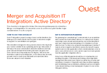 Quest Merger and Acquisition IT Integration