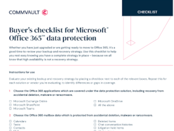 Commvault buyer's checklist for Microsoft Office 365 data protection