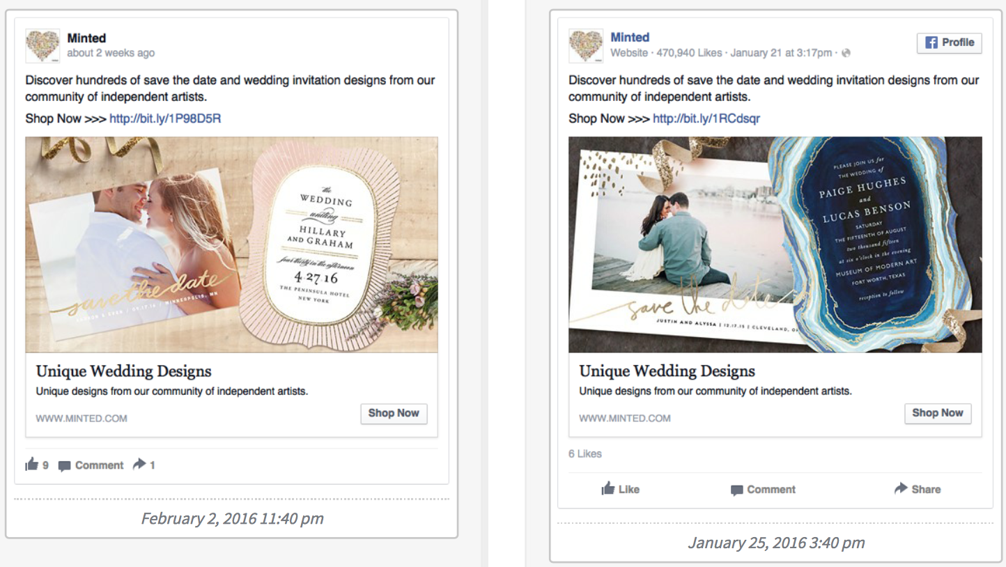 IFP - facebook ads - examples of split testing