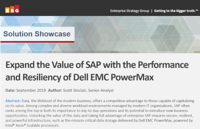 Dell EMC Expand the Value of SAP with the Performance and Resiliency of Dell EMC PowerMax