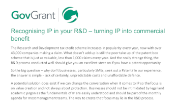 GovGrant Recognising IP in your R&D – turning IP into commercial benefit