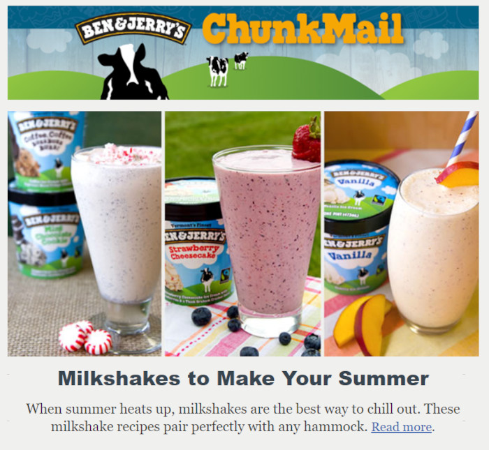 Ben and Jerry's chunkmail newsletter content