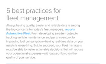 Infor 5 Best Practices for Fleet Management