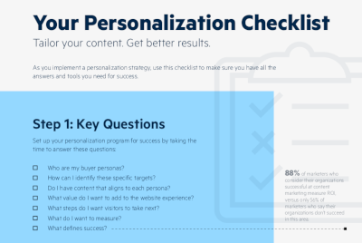 Progress Your Personalization Checklist