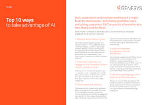Genesys Top 10 Ways to Take Advantage of AI