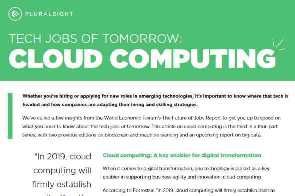 Pluralsight Tech Jobs of Tomorrow: Cloud Computing