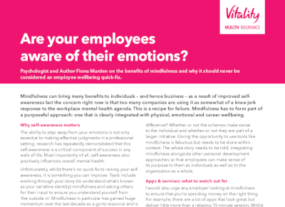 Vitality Are Your Employees Aware of their Emotions?