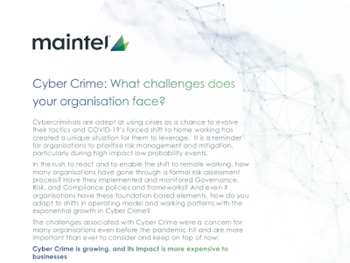 Maintel Cyber Crime: What challenges does your organisation face?