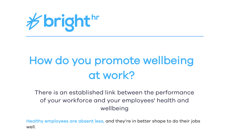 BrightHR How Do You Promote Wellbeing at Work?