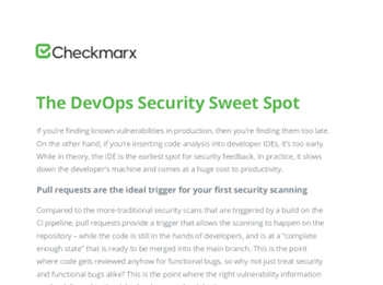 Checkmarx The DevOps Security Sweet Spot