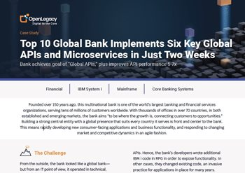 Top 10 Global Bank Implements Six Key Global APIs and Microservices