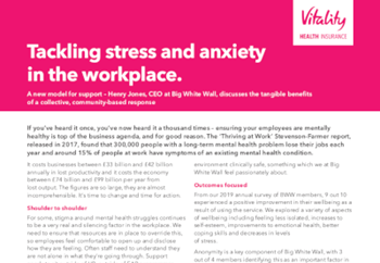 Vitality Tackling Stress and Anxiety in the Workplace