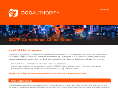 docauthority The GDPR Compliance Cheat Sheet