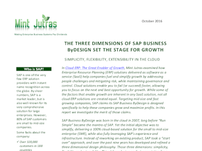 SAP The 3 Dimensions of SAP Business ByDesign Set the Stage for Growth
