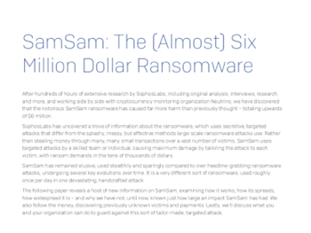 Sophos SamSam: The (Almost) Six Million Dollar Ransomware