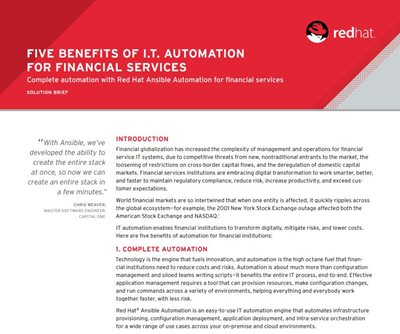 Red Hat Five Benefits of IT Automation for Financial Services