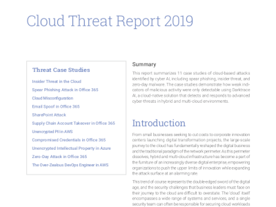 Darktrace Cloud Threat Report 2019