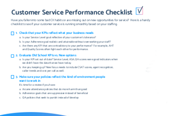 Teleopti Customer Service Performance Checklist