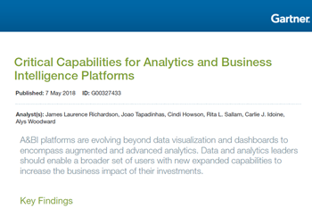 Yellowfin Critical Capabilities for Analytics and Business Intelligence Platforms