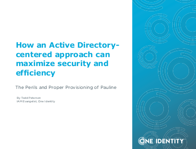 one identity How an Active Directory-Centred Approach Can Maximize Security and Efficiency