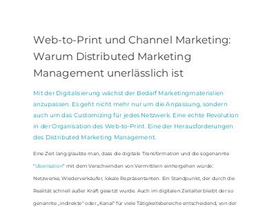 Web-to-Print und Channel Marketing