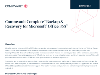 Commvault complete backup & recovery for Microsoft Office 365