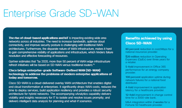 Cisco Solution Overview: Enterprise Grade SD-WAN