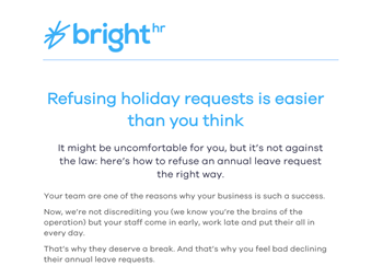 BrightHR Refusing Holiday Requests Is Easier Than You Think