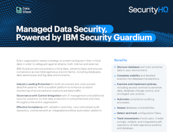 securityhq Managed Data Security, Powered by IBM Security Guardium – White Paper