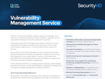 Securityhq Vulnerability Management Service – Datasheet