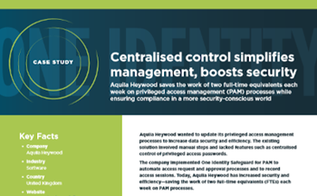 One Identity Centralised control simplifies management, boosts security
