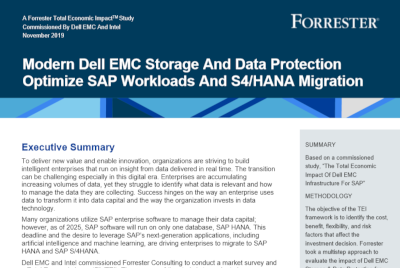 Dell EMC Modern Dell EMC Storage And Data Protection Optimize SAP Workloads And S4/HANA Migration