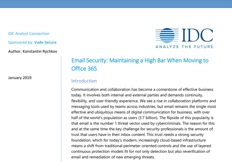 Vade Secure Email Security: Maintaining a High Bar When Moving