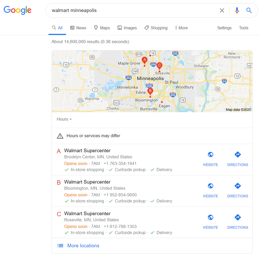 Google search results for walmart minneapolis