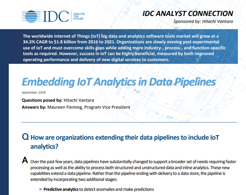 Hitachi Embedding IoT Analytics in Data Pipelines