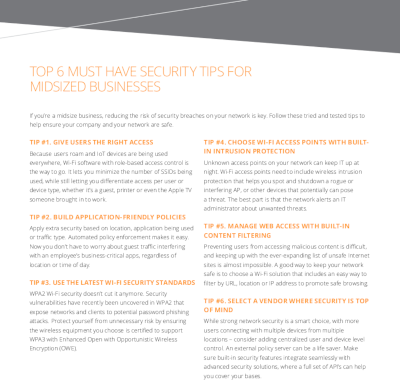 Aruba  Top 6 Must-Have Security Tips for Midsized Businesses