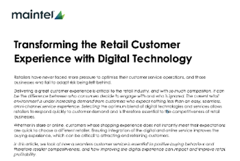 Transforming the Retail Customer Experience with Digital technology