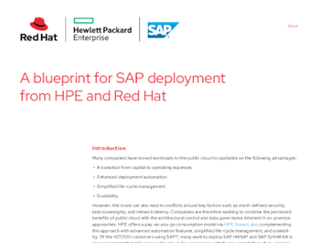 Red Hat A blueprint for SAP deployment from HPE and Red Hat