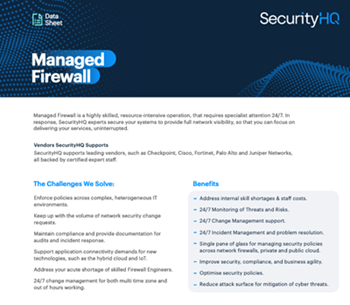 SecurityHQ- Managed Firewall: Data Sheet