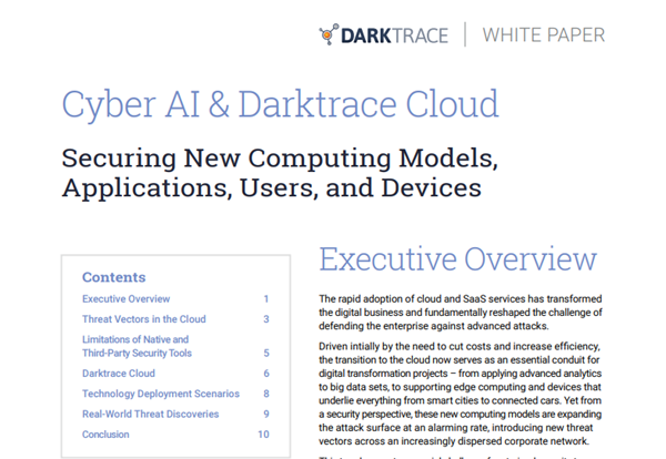 Cyber AI and Darktrace Cloud