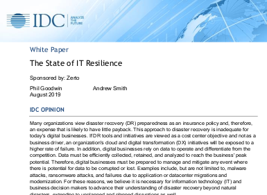 Zerto The State of IT Resilience