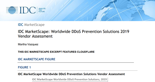 Cloudflare IDC MarketScape: Worldwide DDoS Prevention Solutio