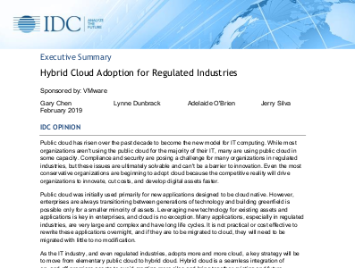 VMWare Hybrid Cloud Adoption for Regulated Industries