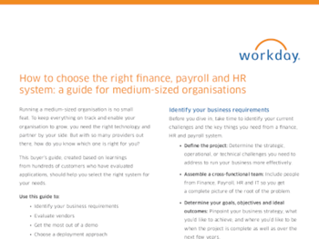 Workday The Complete Buyer's Guide to Choosing the Right Finance, Payroll, and HR System