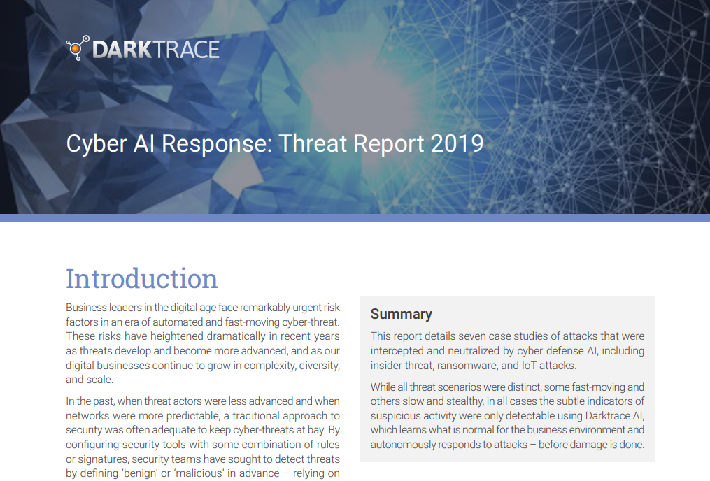 Cyber AI Response: Threat Report 2019