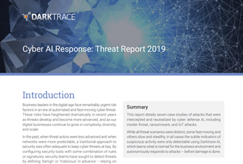 Darktrace Cyber AI Response: Threat Report 2019
