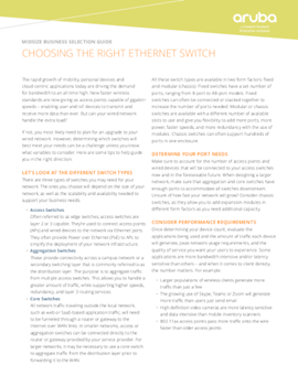 Aruba Choosing the Right Ethernet Switch